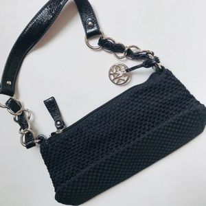 The Sak Black Woven Mini Bag Silver Chain Details